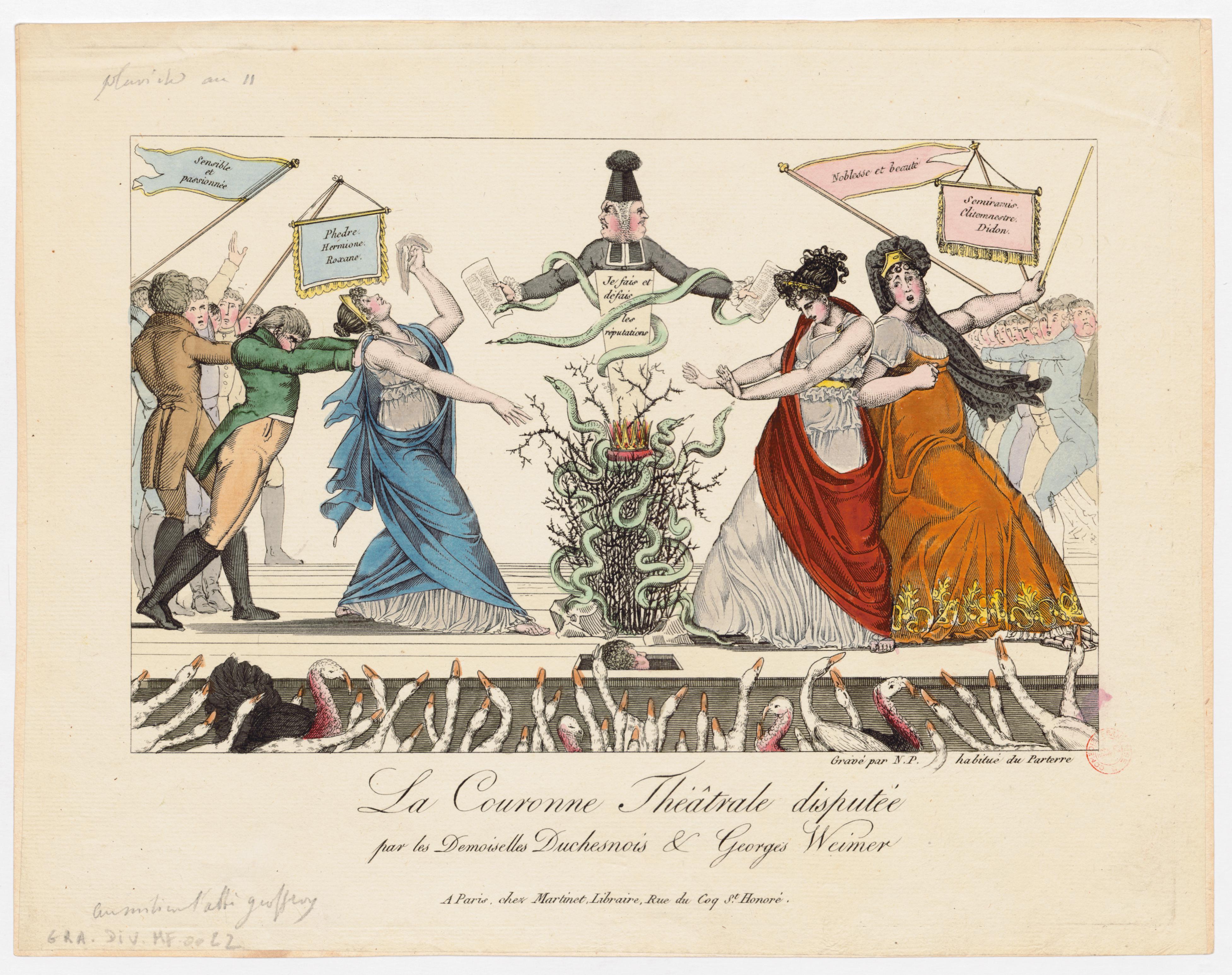 01-la-couronne-thc-e-trale-disputc-e-par-les-demoiselles-duchesnois-et-george-weimer-gravc-e-par-n.p.-1802-1804-