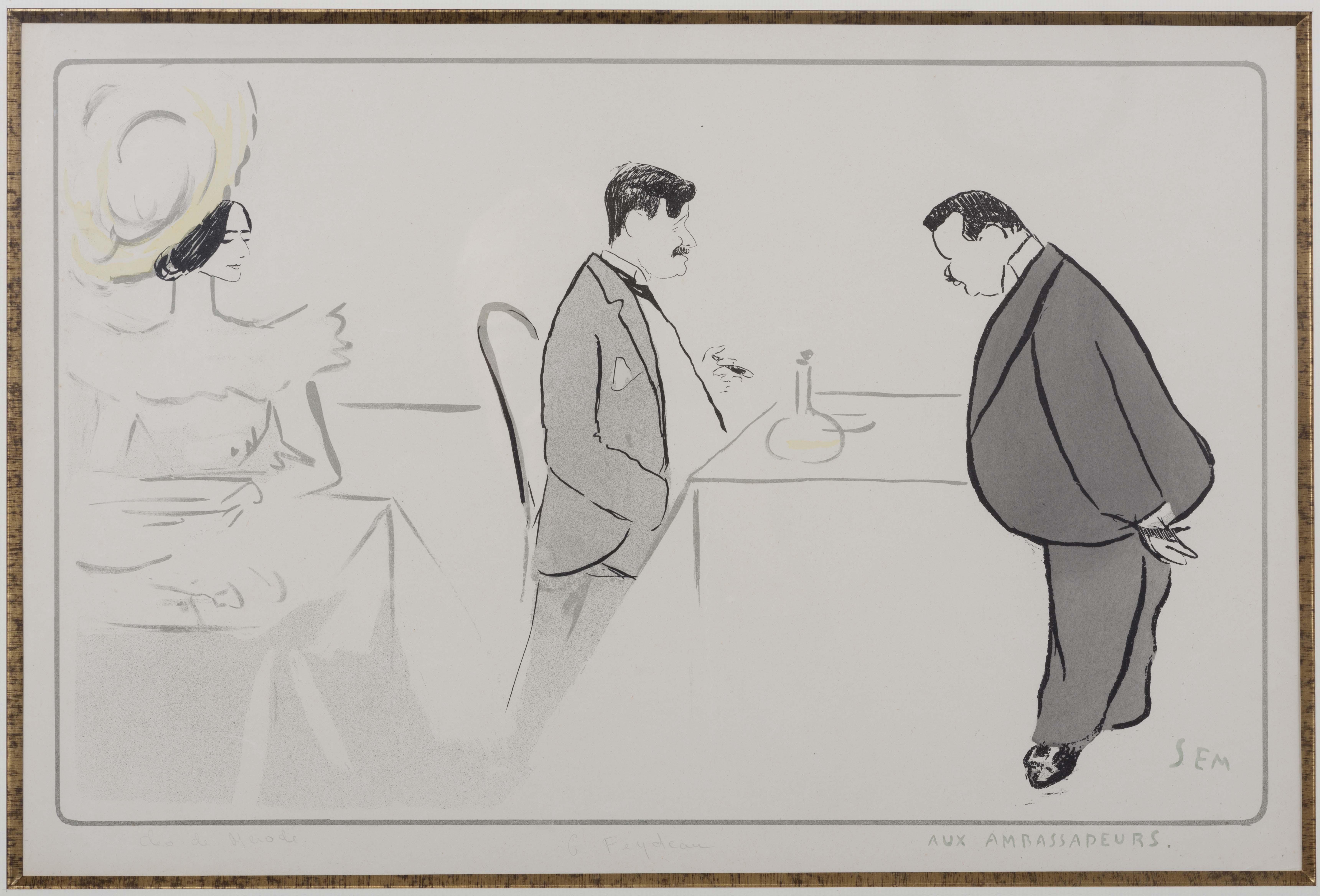 06-clc-o-de-mc-rode-et-georges-feydeau-aux-ambassadeurs-caricature-de-sem-1910