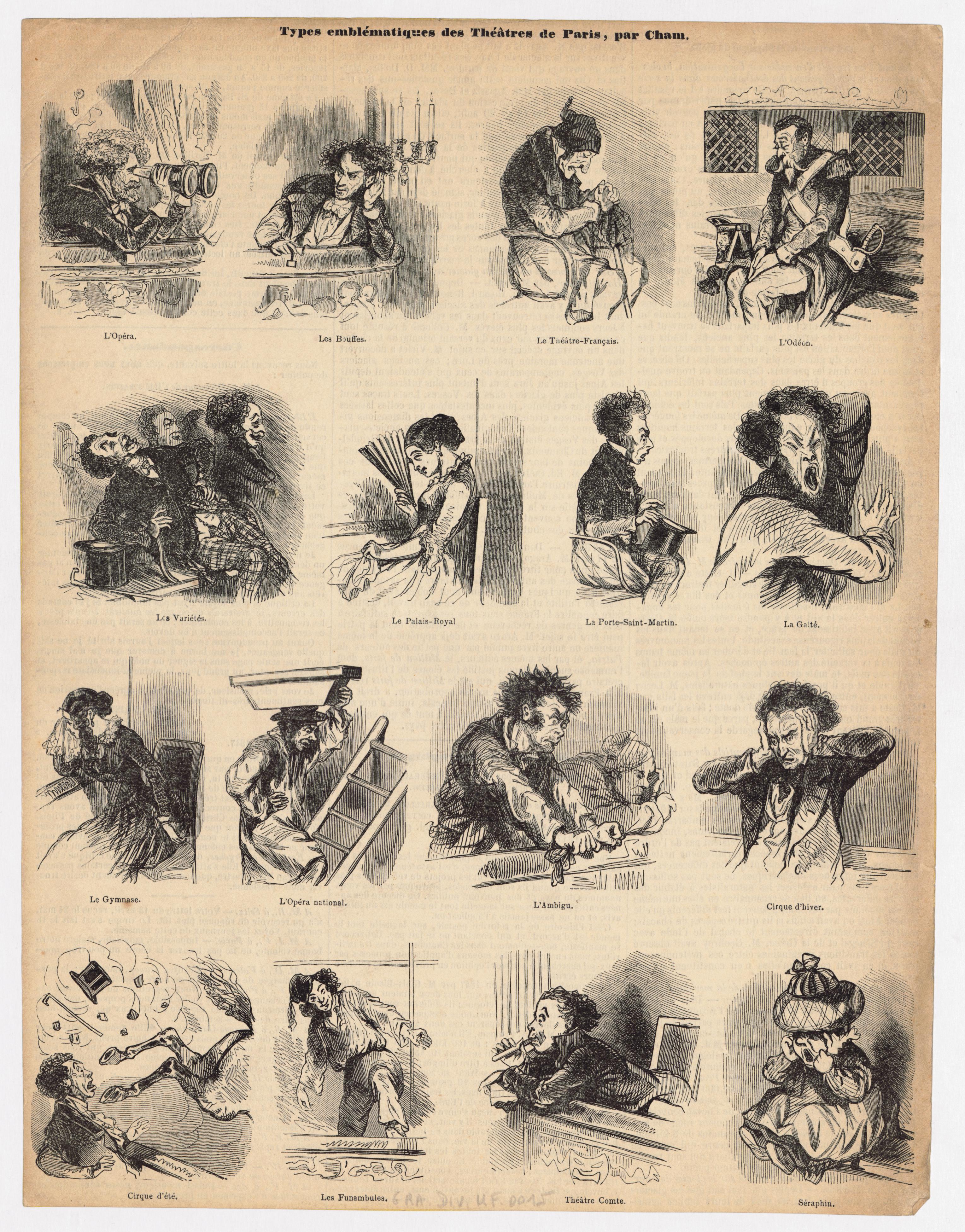 10-types-emblc-matiques-des-thc-e-tres-de-paris-caricature-par-cham-1839-1879-